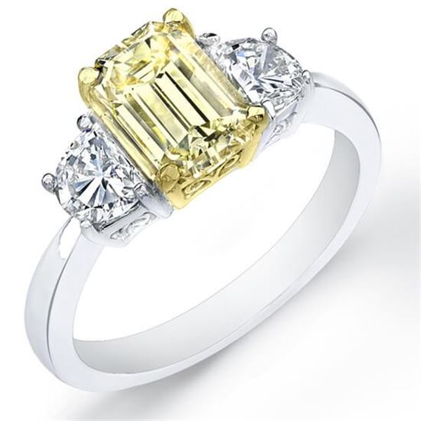 Natural 2.12 CTW Canary Yellow Emerald Cut & Half Moons Diamond Ring 14KT Two-tone