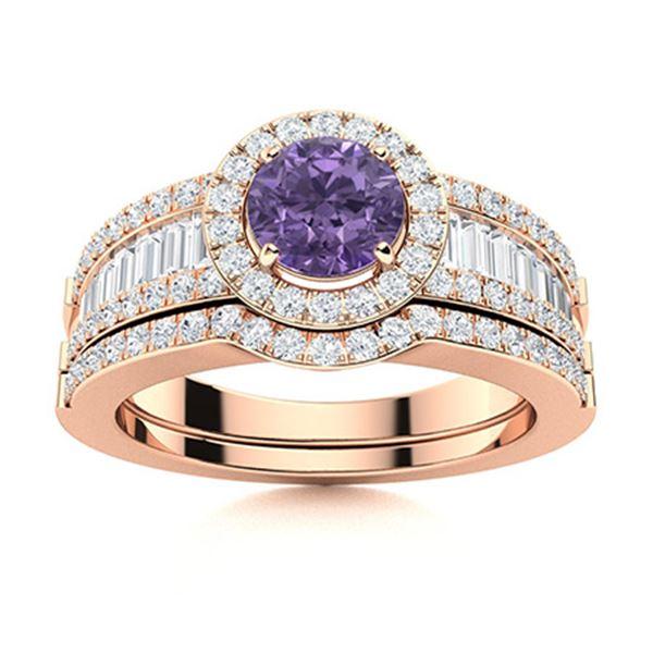 Natural 1.38 CTW Iolite & Diamond Engagement Ring 14K Rose Gold