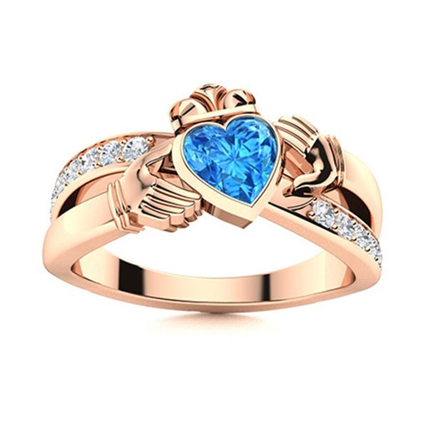 Natural 0.80 CTW Topaz & Diamond Engagement Ring 18K Rose Gold