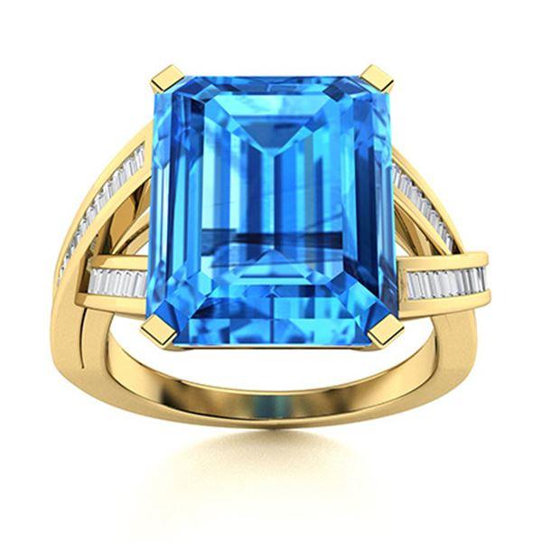 Natural 5.52 CTW Topaz & Diamond Engagement Ring 14K Yellow Gold