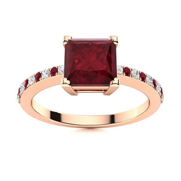 Natural 1.68 CTW Ruby & Diamond  Engagement Ring 14K Rose Gold