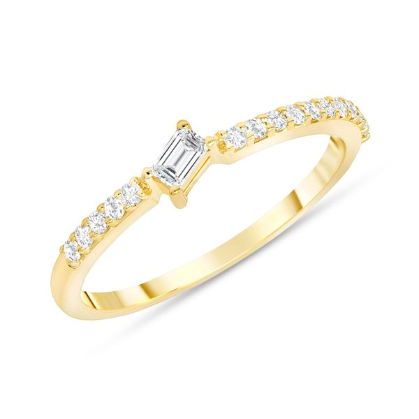 Natural 0.22 CTW Tilted Baguette Diamond Ring 14KT Yellow Gold