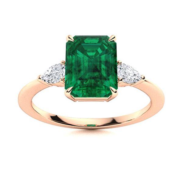 Natural 2.58 CTW Emerald & Diamond Engagement Ring 18K Rose Gold