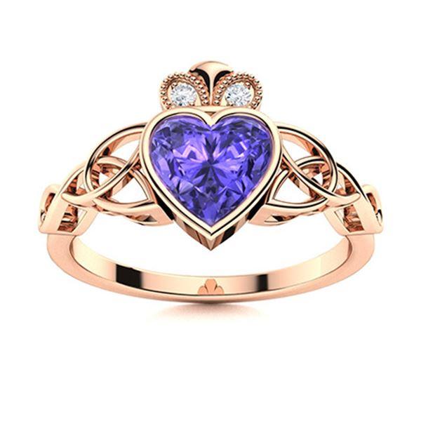 Natural 0.56 CTW Tanzanite & Diamond Engagement Ring 18K Rose Gold