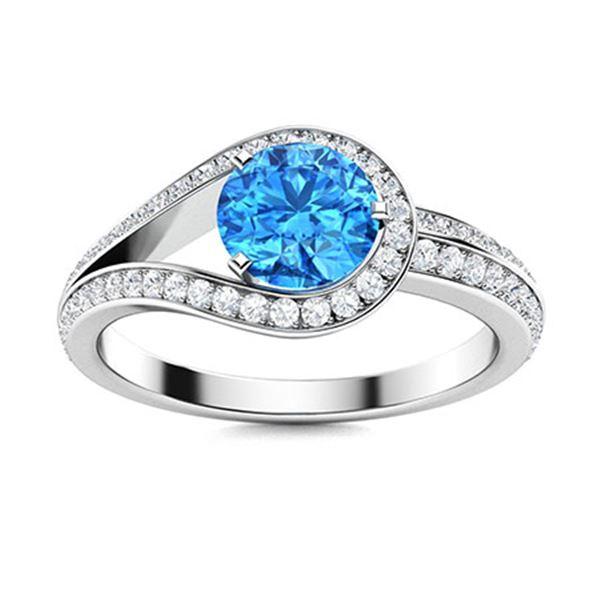 Natural 1.01 CTW Topaz & Diamond Engagement Ring 14K White Gold