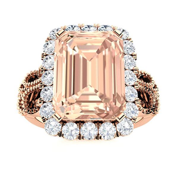 Natural 3.73 CTW Morganite & Diamond Engagement Ring 14K Rose Gold