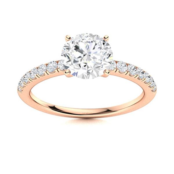 Natural 2.11 CTW Diamond Solitaire Ring 14K Rose Gold