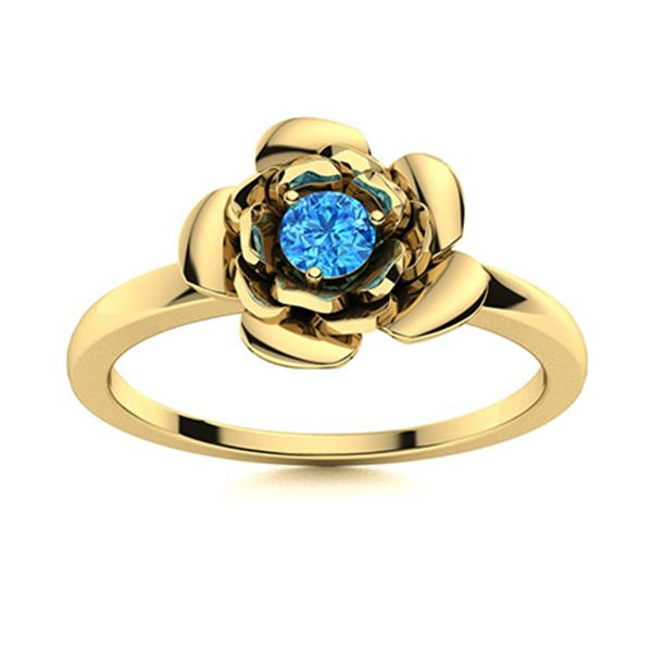 Natural 0.12 CTW Topaz Solitaire Ring 18K Yellow Gold