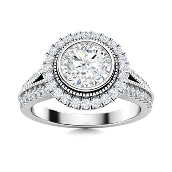 Natural 1.74 CTW Diamond Solitaire Ring 14K White Gold