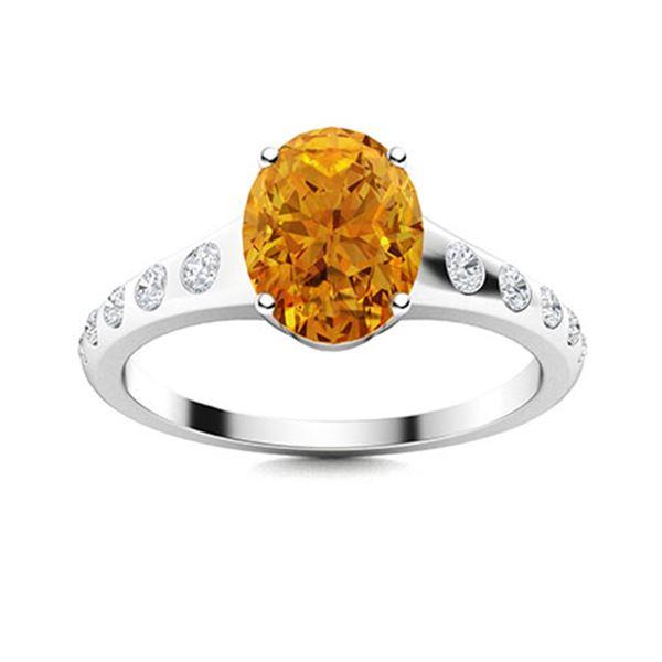 Natural 2.29 CTW Citrine & Diamond Engagement Ring 18K White Gold