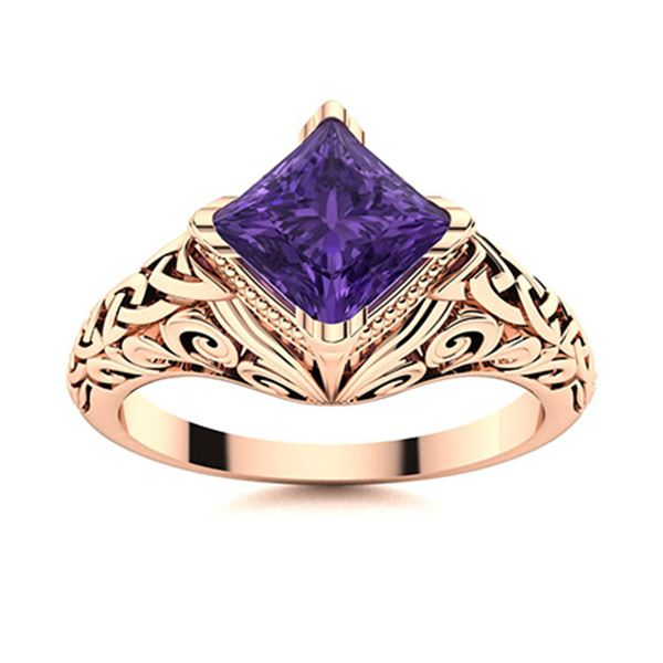 Natural 0.52 CTW Amethyst Solitaire Ring 18K Rose Gold