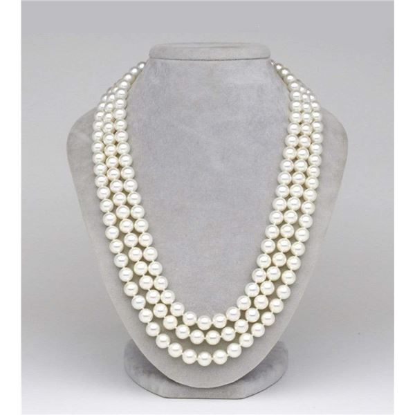 """White Japanese Akoya Triple Strand Pearl Necklace, 7.0-7.5mm, AAA Quality, 16/17/18""""es"""