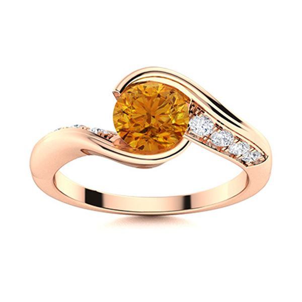 Natural 1.42 CTW Citrine & Diamond Engagement Ring 18K Rose Gold