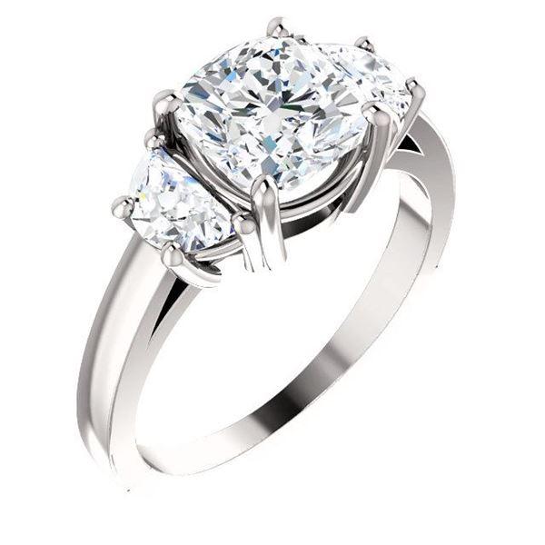 Natural 2.72 CTW Cushion Cut & Half Moons 3-stone Diamond Ring 14KT White Gold