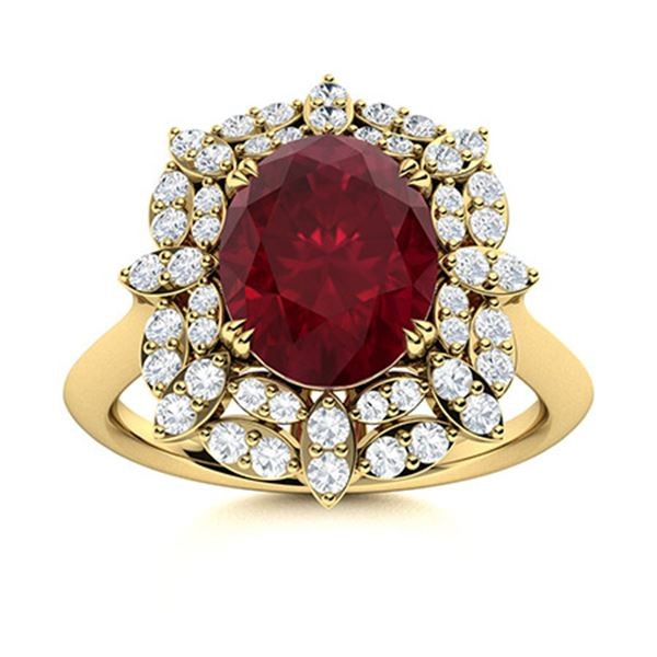 Natural 2.28 CTW Ruby & Diamond Engagement Ring 14K Yellow Gold