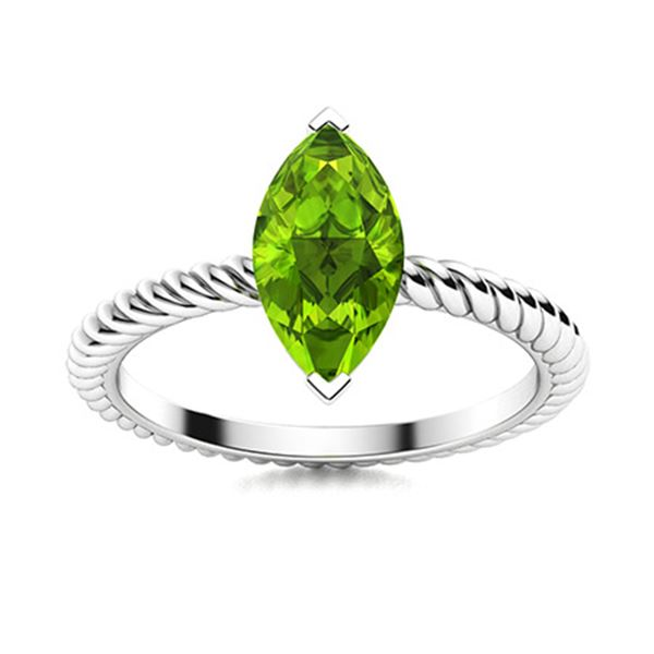 Natural 0.89 CTW Peridot Solitaire Ring 14K White Gold