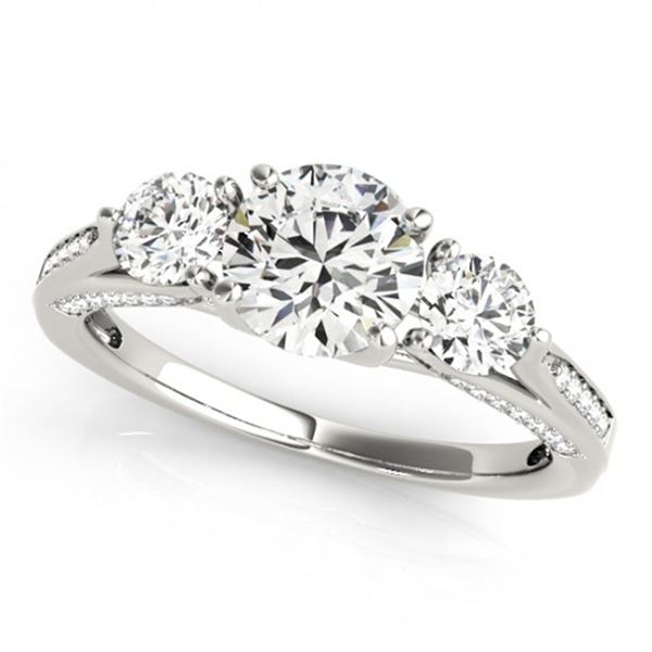Natural 1.75 ctw Diamond 3 Stone Ring 14k White Gold
