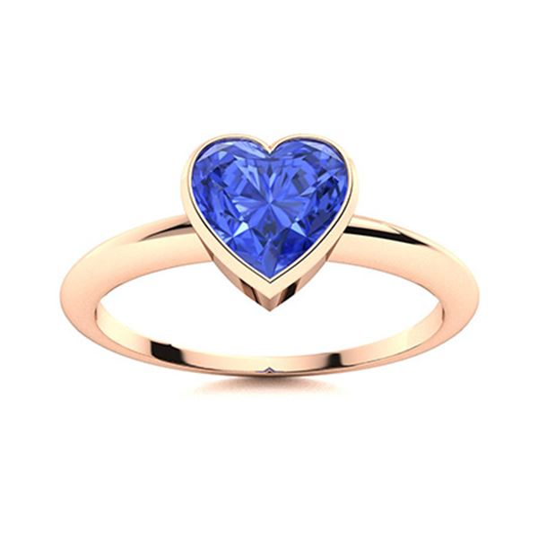Natural 1.01 CTW Ceylon Sapphire Solitaire Ring 18K Rose Gold
