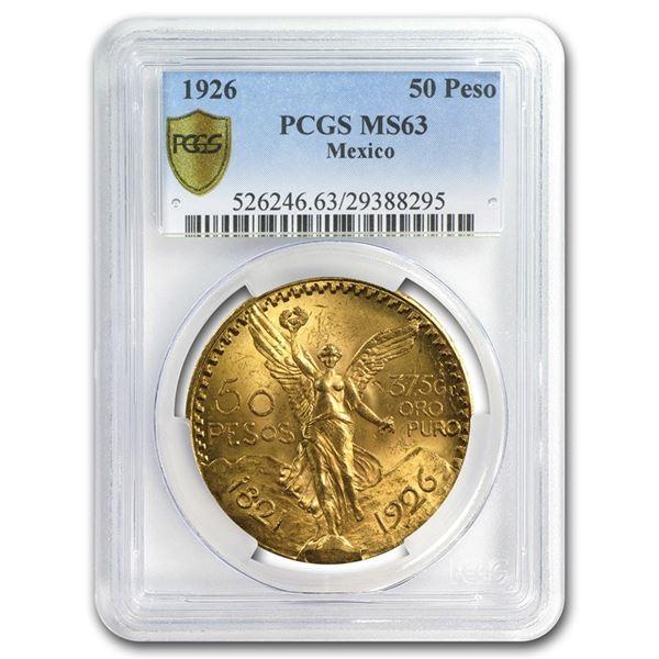 1926 Mexico Gold 50 Pesos MS-63 PCGS