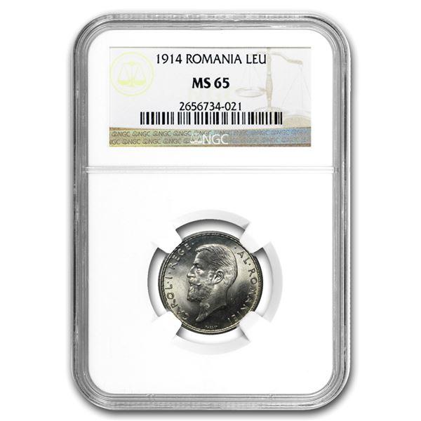 1914 Romania Silver Leu MS-65 NGC