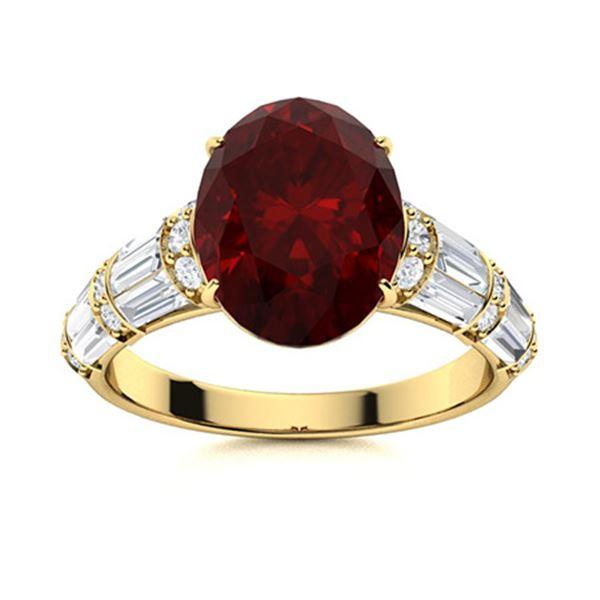 Natural 3.83 CTW Garnet & Diamond Engagement Ring 18K Yellow Gold