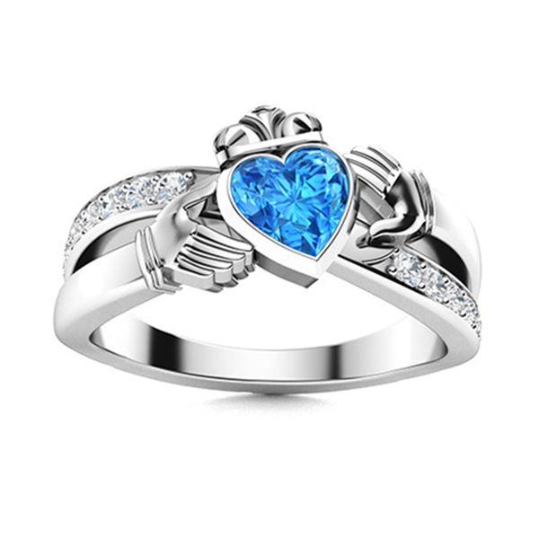 Natural 1.15 CTW Topaz & Diamond Engagement Ring 14K White Gold