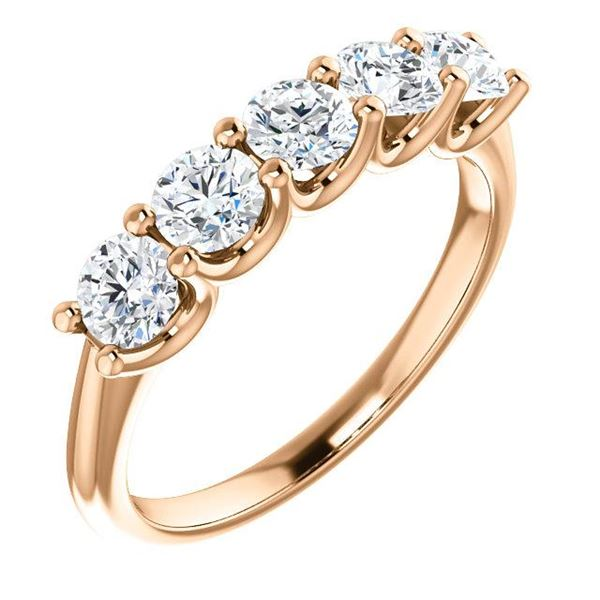 Natural 1.02 CTW Round Cut 5-Stone Diamond Ring 18KT Rose Gold