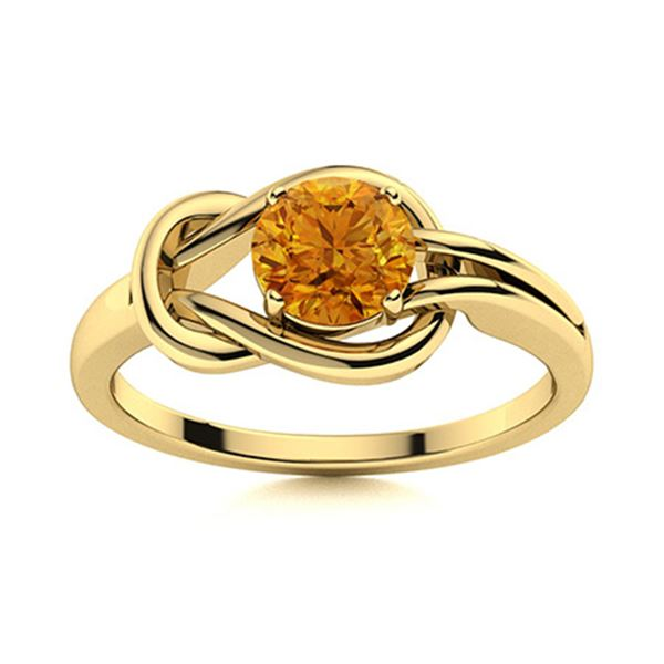 Natural 0.72 CTW Citrine Solitaire Ring 18K Yellow Gold