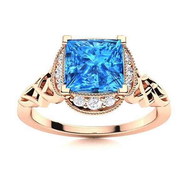 Natural 1.03 CTW Topaz & Diamond Engagement Ring 14K Rose Gold