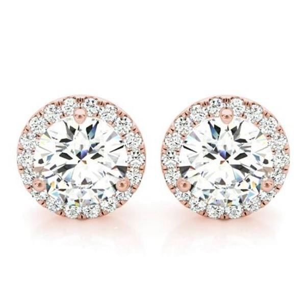 Natural 1.22 CTW Halo Round Brilliant Cut Diamond Stud Earrings 14KT Rose Gold
