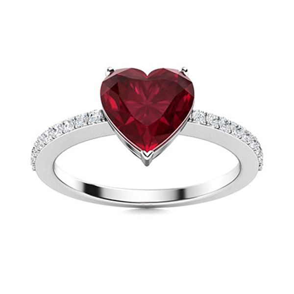 Natural 0.83 CTW Ruby & Diamond Engagement Ring 14K White Gold