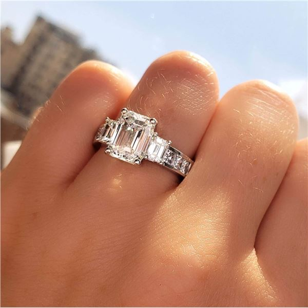 Natural 2.72 CTW Emerald Cut 3-Stone Diamond Engagement Ring 14KT White Gold