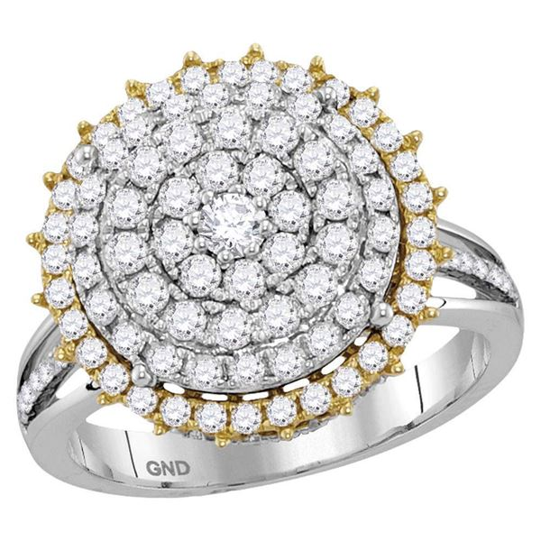 14kt Two-tone Gold Womens Round Diamond Right Hand Cocktail Ring 1-1/2 Cttw