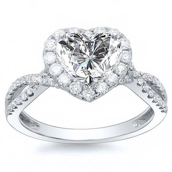 Natural 2.32 CTW Halo Heart Shape Twist Shank Diamond Ring 18KT White Gold