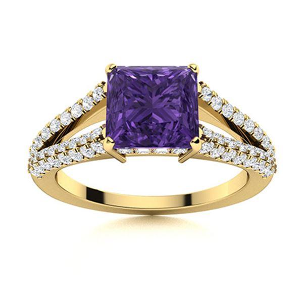 Natural 1.82 CTW Amethyst & Diamond Engagement Ring 18K Yellow Gold