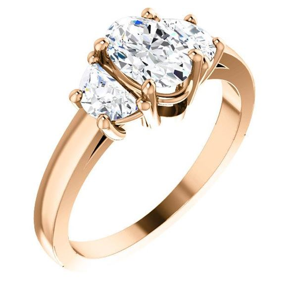 Natural 2.22 CTW Oval Cut & Half Moons 3-Stone Diamond Ring 18KT Rose Gold