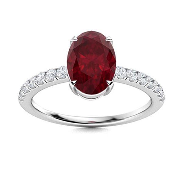 Natural 2.13 CTW Ruby & Diamond Engagement Ring 14K White Gold