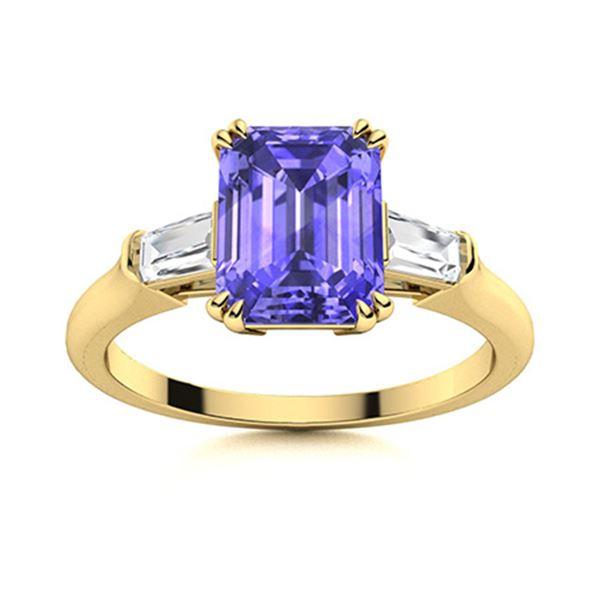 Natural 1.18 CTW Tanzanite & Diamond Engagement Ring 18K Yellow Gold