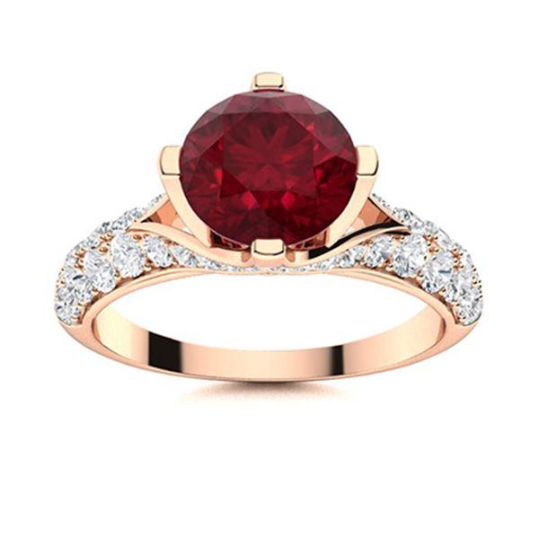 Natural 2.13 CTW Ruby & Diamond Engagement Ring 14K Rose Gold