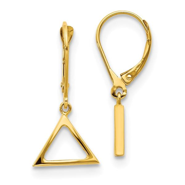 14k Yellow Gold Polished Triangle Leverback Earrings - 41 mm