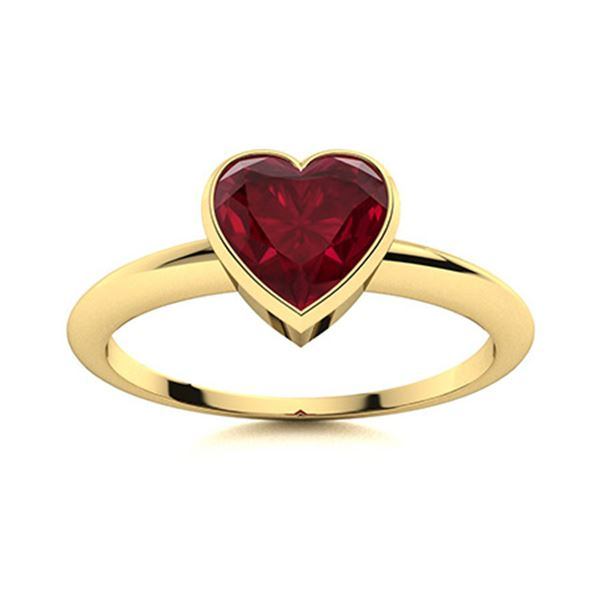 Natural 0.64 CTW Ruby Solitaire Ring 18K Yellow Gold