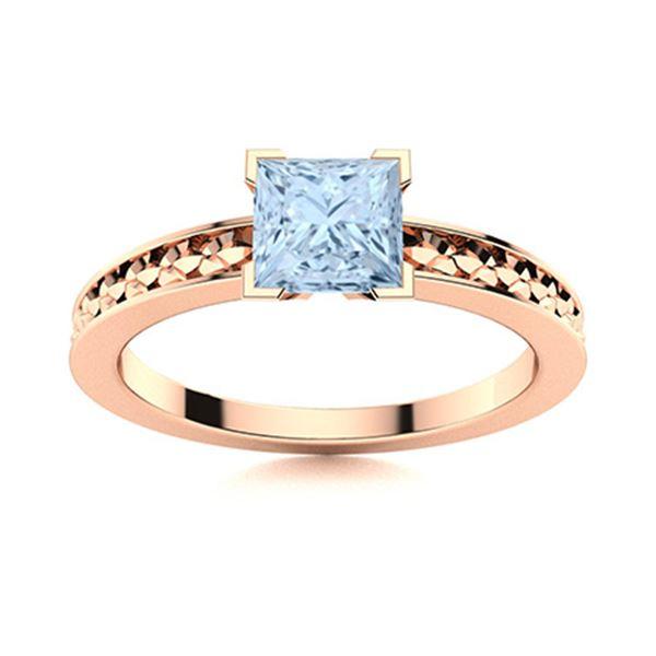 Natural 0.72 CTW Aquamarine Solitaire Ring 18K Rose Gold