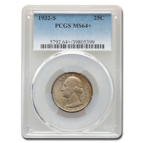 1932-S Washington Silver Quarter MS-64+ PCGS