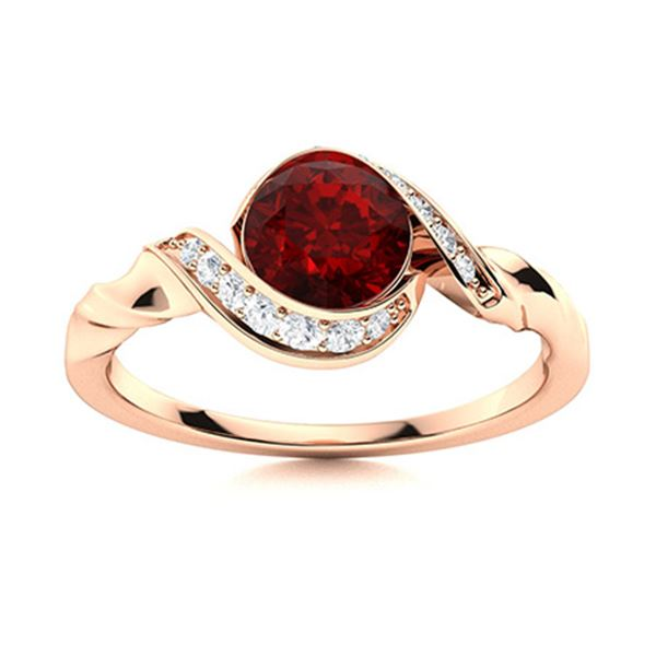 Natural 1.18 CTW Garnet & Diamond Engagement Ring 14K Rose Gold