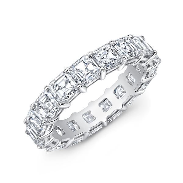 Natural 8.02 CTW Asscher Cut Diamond Eternity Band 14KT White Gold