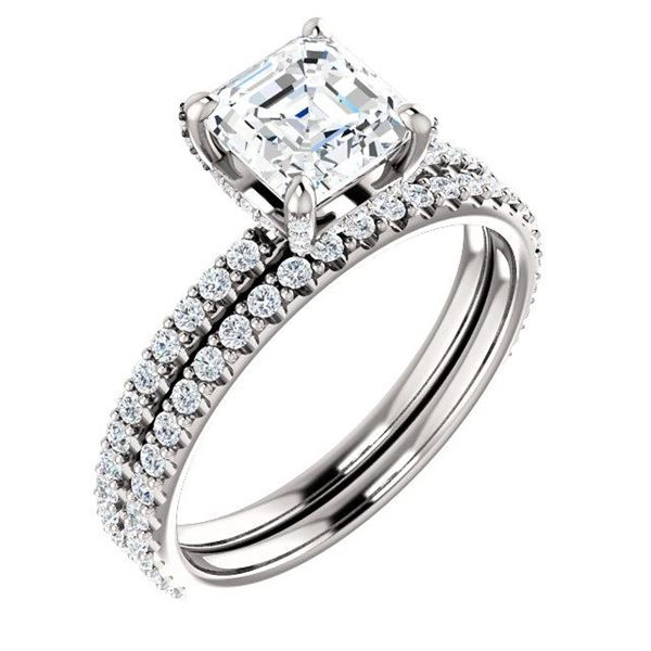 Natural 2.62 CTW Halo Asscher Cut Diamond Ring 14KT White Gold