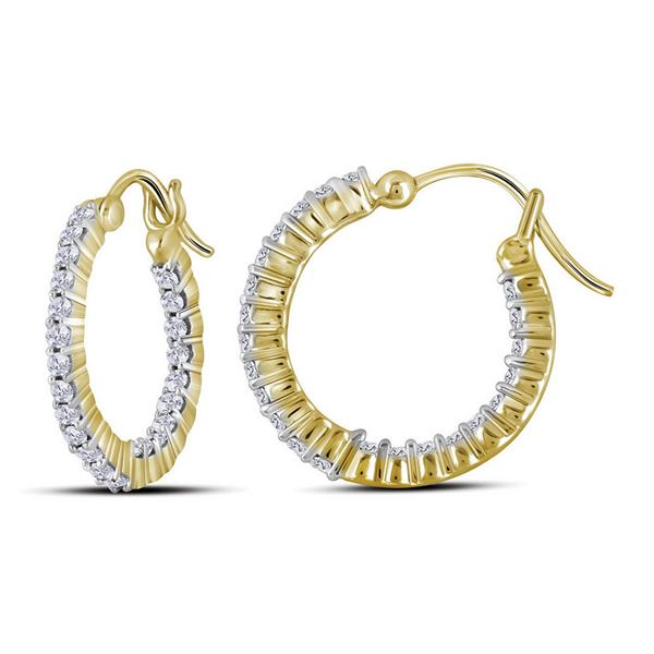 14kt Yellow Gold Womens Round Diamond Inside Outside Hoop Earrings 2 Cttw