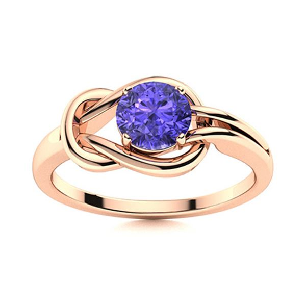 Natural 1.05 CTW Tanzanite Solitaire Ring 14K Rose Gold