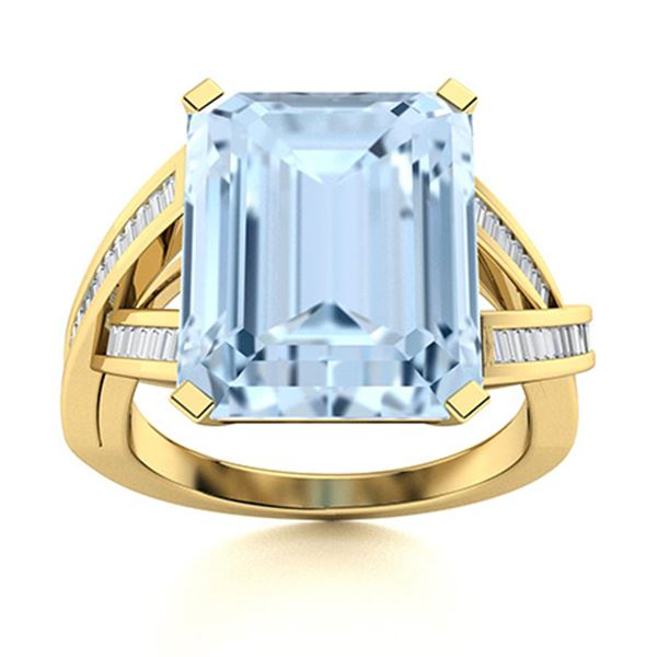 Natural 3.02 CTW Aquamarine & Diamond  Engagement Ring 18K Yellow Gold