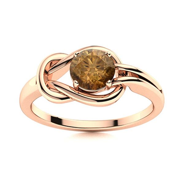 Natural 0.62 CTW Brown Diamond Solitaire Ring 18K Rose Gold
